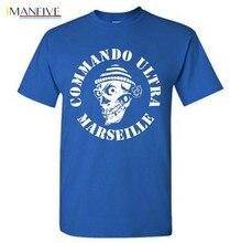 Tshirt Homme IMANFIVE New COMMANDO ULTRA 84 MARSEILLE ULTRAS FOOTBALLER FANS Print T Shirt Men sbz1260