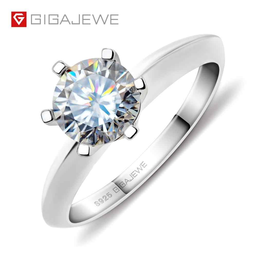 GIGAJEWE 1.0ct 6.5mm EF okrągły 18K White Gold Plated 925 srebrny Moissanite pierścień diament Test przeszedł biżuteria kobieta prezent dla dziewczyny