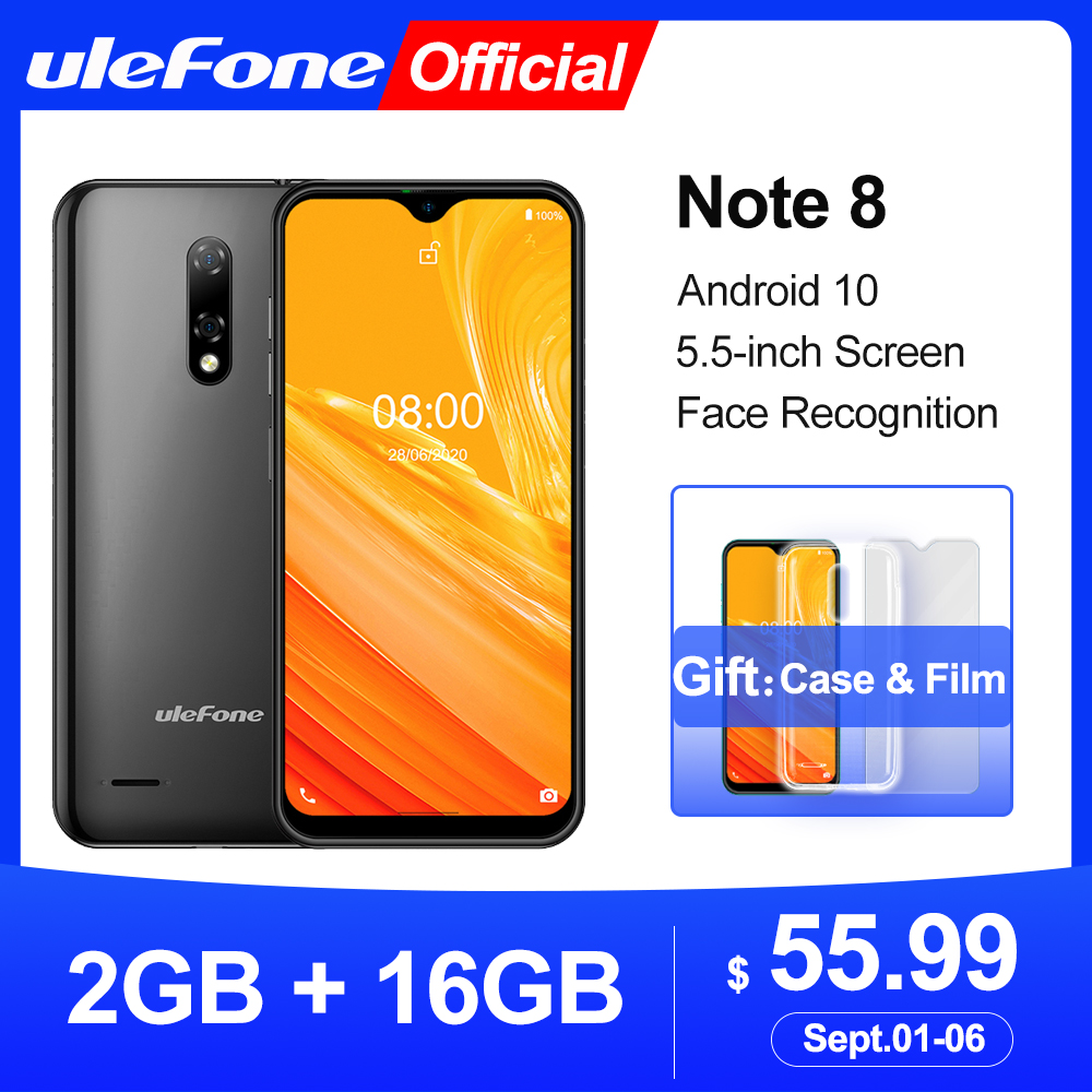 Ulefone Note 8  Smartphone Android 10  Waterdrop Screen Quad Core 2GB+16GB  5.5 inch Face Recognition 5MP Camera|Cellphones|   - AliExpress