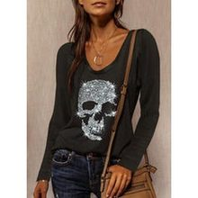 Women 2021 Spring New Fashion Sequins Skull Print Blouse Shirts Elegant O-Neck Long Sleeve Tops Casual Loose Pullover Female 3XL