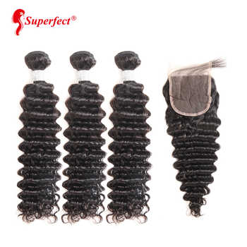 Superfect Deep Wave Bundles With Closure Brazilian Hair Weave 3 Bundles With Closure Remy Human Hair Bundles With Closure - DISCOUNT ITEM  40% OFF All Category