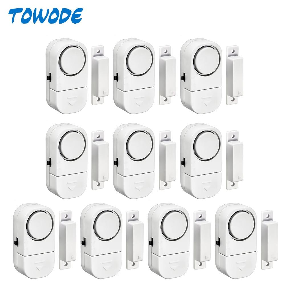 Towode 5/10Pcs 90dB Wireless Home Window Door Burglar Security Alarm System Magnetic Sensor For Home Security System