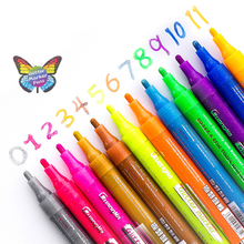 12 Colors Glitter Marker Highlighter Pens Set Creative DIY Journal Graffiti Drawing Handle Fluorescent Stationery Supplies