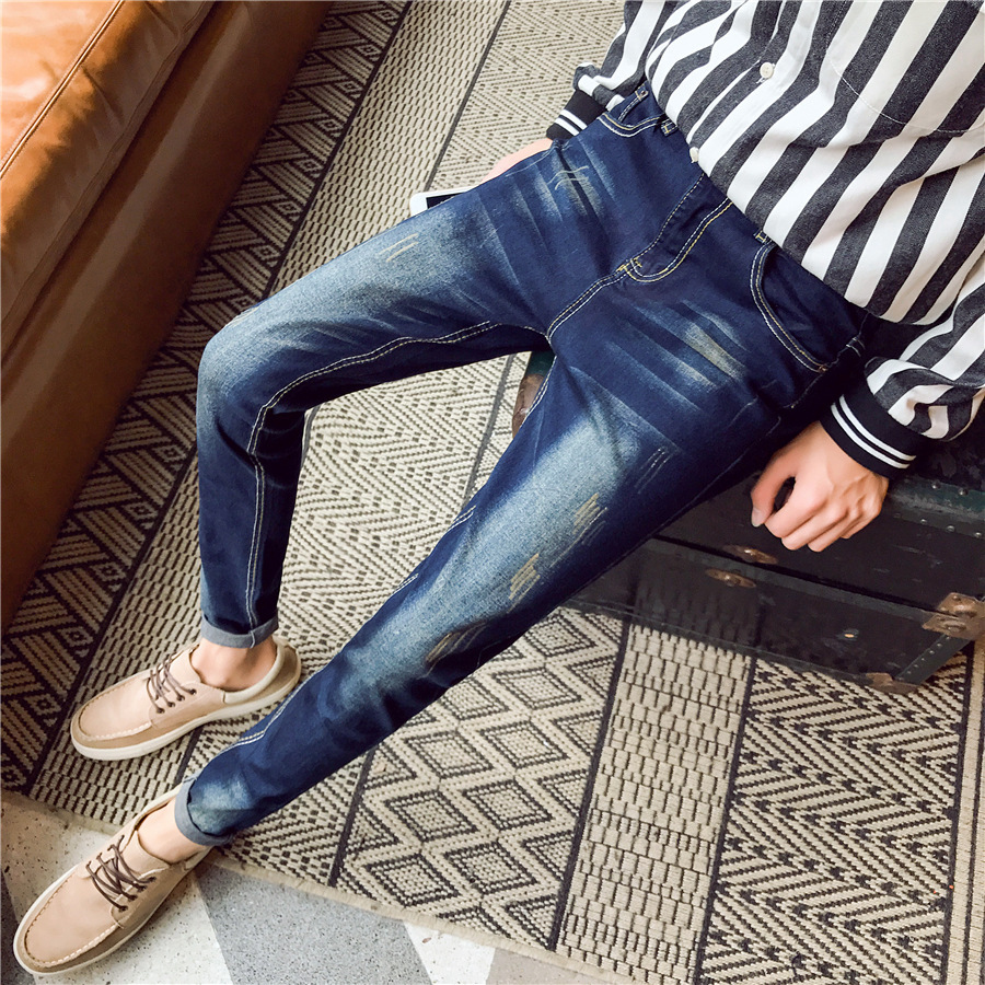 Men's Jeans 2016 Autumn New Style Men's Wear Japanese-style Cat Whisker Korean-style Slim Fit Men Skinny Pants