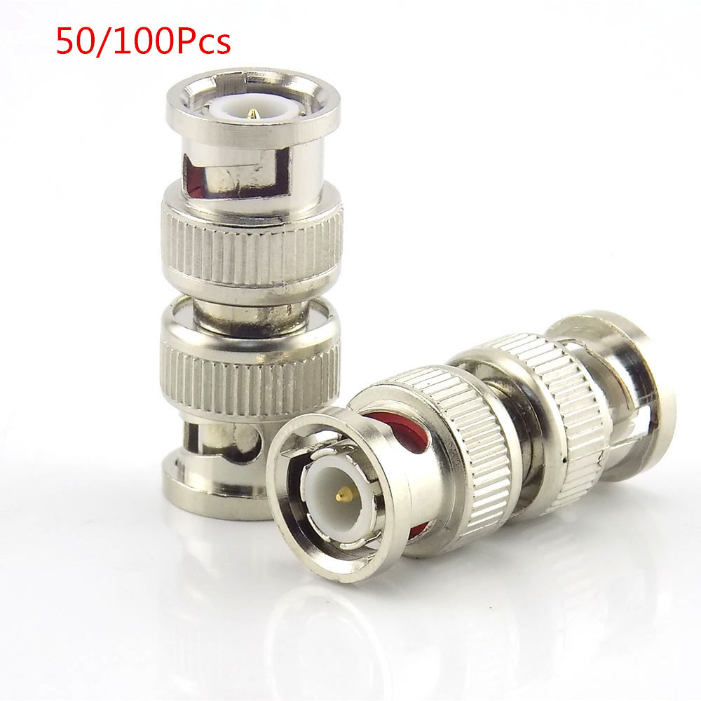 50pcs 100Pcs Bnc Male To Bnc Male Connector Coupler Cctv Accessories Splitter Plug Adapter For Rg59 Cctv Cable Adapter K09