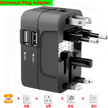 Universal International Plug Adapter Travel Ac Power Charger Adaptor Charging Ports with AU US UK EU Converter Plug new universal international plug adapter 2 usb port world travel ac power charger adaptor with au us uk eu converter plug
