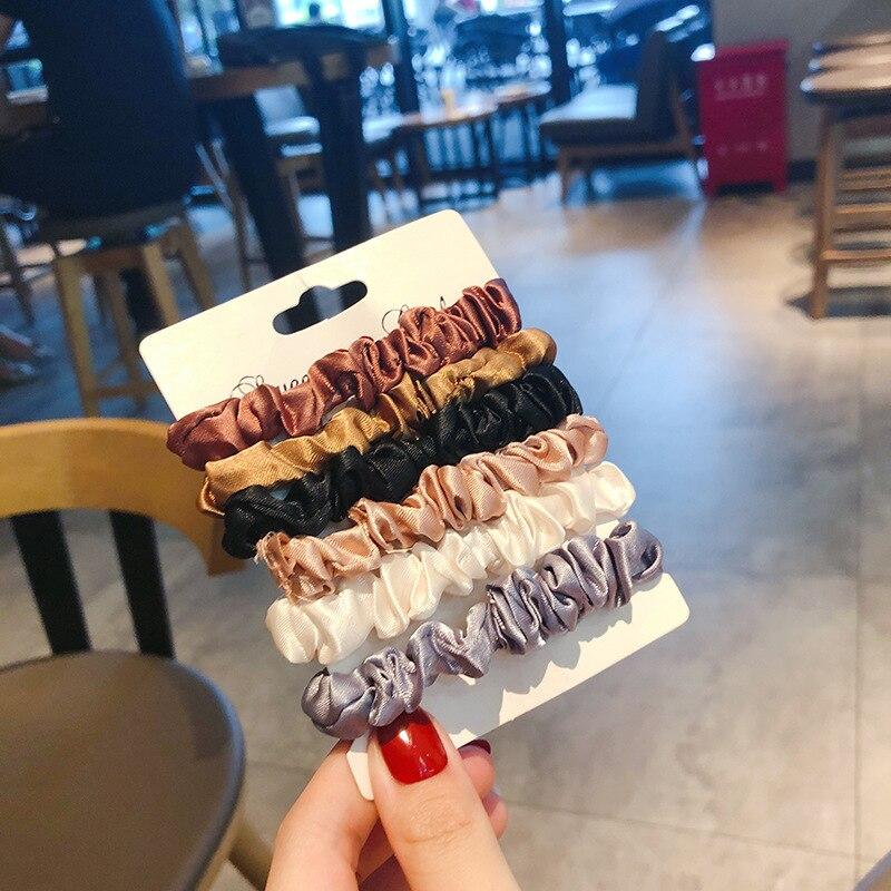 Женская шелковая резинка для волос, 6 цветов