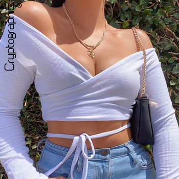 Cryptographic Long Sleeve Sexy V-Neck Wrap Women Top and Blouse Shirts Summer Sexy Backless Crop Tops Solid Fashion Blusas Mujer cryptographic off shoulder lantern sleeve sexy women top and blouse shirts button up backless crop tops fashion blusas mujer