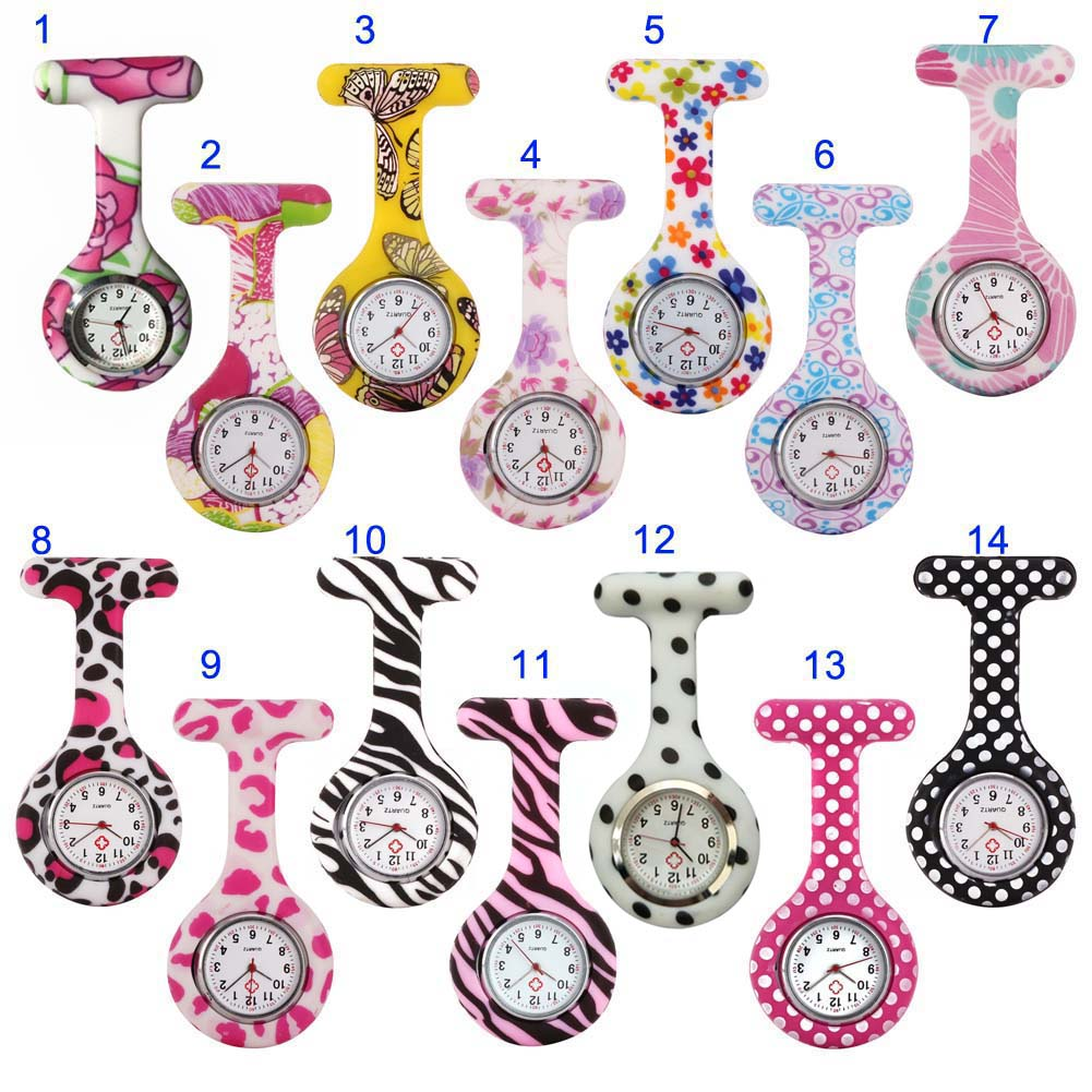 Nurse Watches Printed Style Clip-on Fob Brooch Pendant Pocket Hanging Doctor Nurses Medical Quartz Watch HSJ88