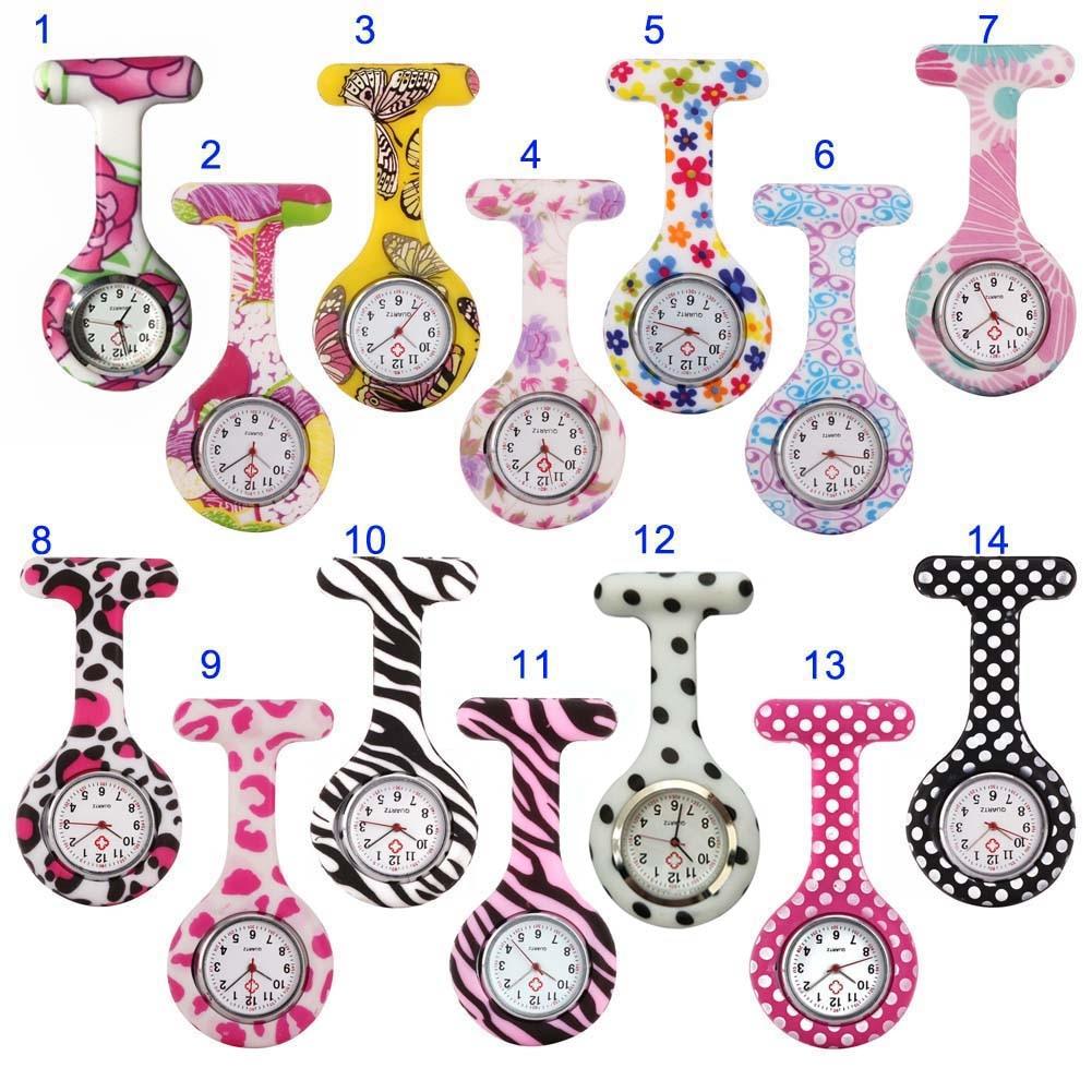 Nurse Watches Printed Style Clip-on Fob Brooch Pendant Pocket Hanging Doctor Nurses Medical Quartz Watch HSJ88