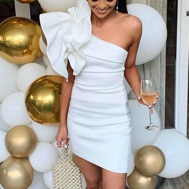 White Dresses One Shoulder Ruffles