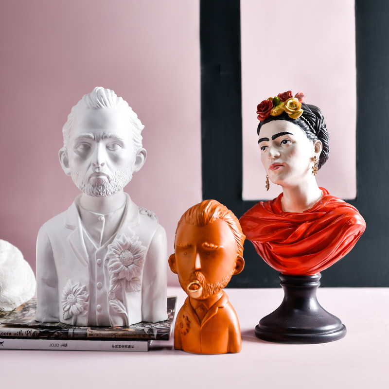 2020 Resin Statue Van Gogh Portraits European Bust Figurines Mini Gypsum Home/Office Desktop Decoration Sculpture Sketch Gifts