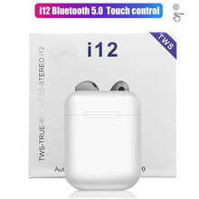 I12 tws 터치 컨트롤 이어 버드 무선 블루투스 5.0 미니 이어폰 3d 슈퍼베이스 이어폰 마이크 충전 박스 공장 가격