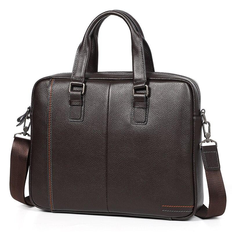 Nesitu A4 Coffee Blue Black Genuine Leather  14'' Laptop Office Men's Briefcase Handbag Business Messenger Bag Portfolio M255605
