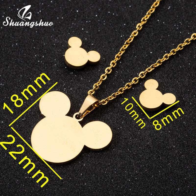 Shuangshuo minimaliste Mickey ensembles de bijoux pour femmes filles enfant souris cerf oiseau chat pendentif collier boucles d'oreilles Femme cadeau de noël