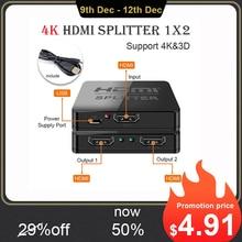 Hdmi ספליטר 1 ב 2 מתוך 1080p 4K 1x2 1x4 HDCP חשפנית 3D ספליטר כוח מגבר אות HDMI ספליטר עבור HDTV DVD PS3 Xbox