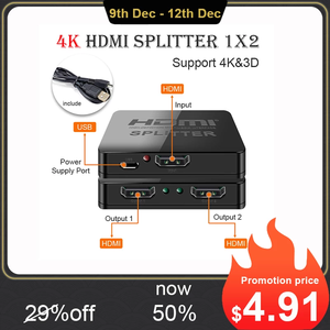 Image 1 - Hdmi Splitter 1 in 2 out 1080p 4K 1x2 1x4 HDCP Stripper 3D Splitter power Signal Verstärker HDMI Splitter Für HDTV DVD PS3 Xbox