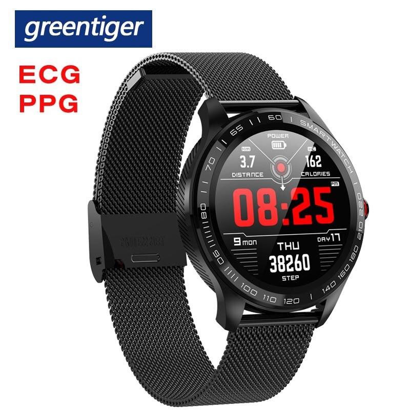Greentiger ekg PPG L9 smart watch IP68 wodoodporna wielokrotnego sport tętno Bluetooth inteligentny zegarek ciśnienia krwi tlenu's postawy polityczne w L5 L7 w Inteligentne zegarki od Elektronika użytkowa na  Grupa 1