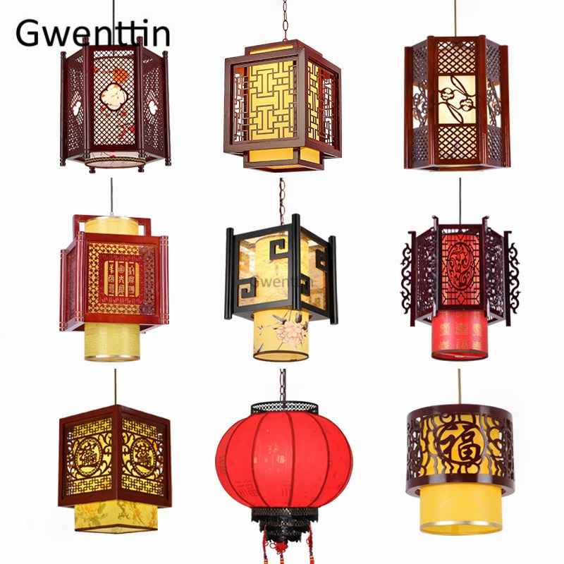 Chinese Style Vintage Wood Pendant Lights Sheepskin Lantern Hanging Lamp Luminaire For Living Room Lighting Fixtures Home Decor