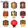 Китайский стиль винтажный деревянный подвесной светильник фонарь овечья шкура подвесной светильник для гостиной осветительные приборы до...