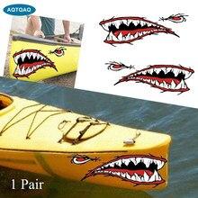 AQTQAQ 1 paire réfléchissant bateau décalcomanies autocollant requin dents bouche pêche canoë voiture camion Kayak accessoires graphiques