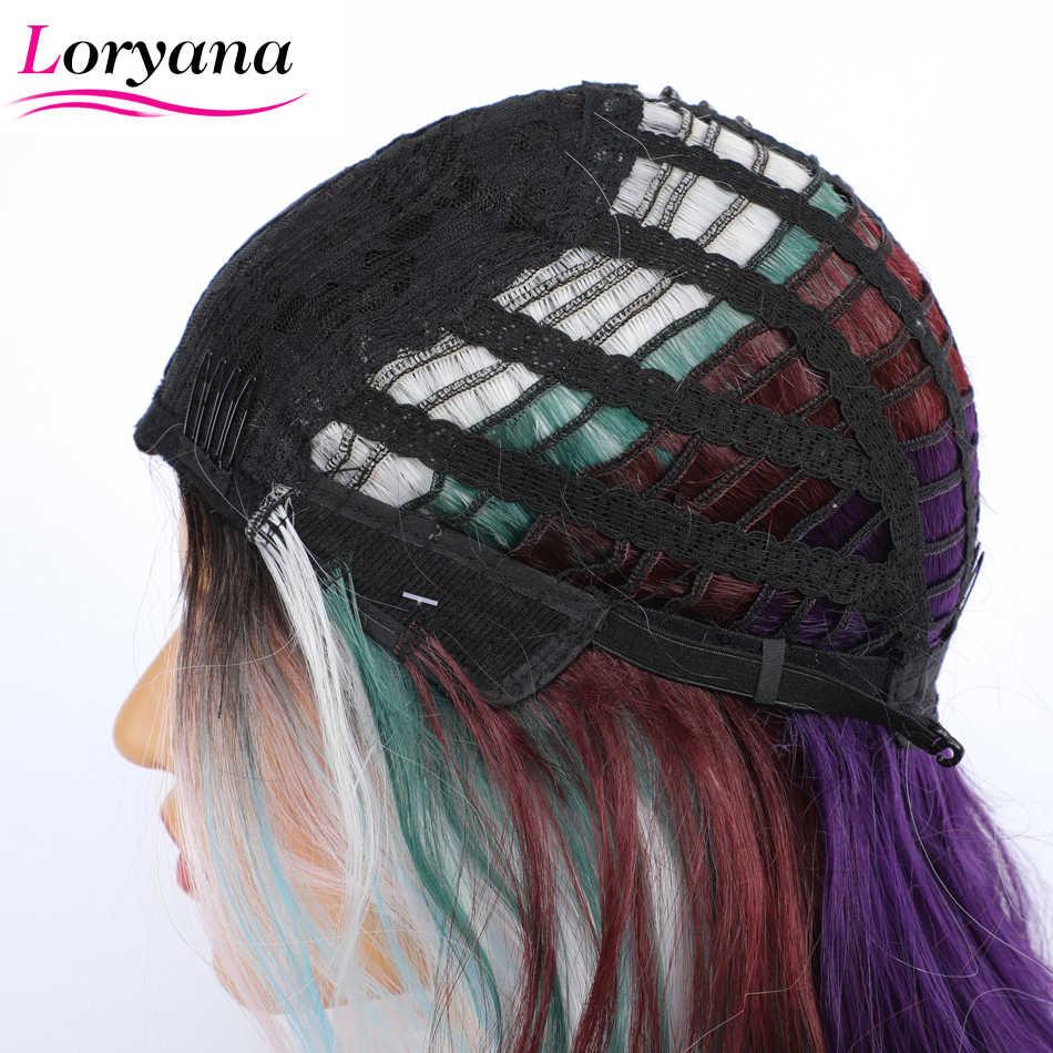 Loryana z długich włosów peruka Mix kolorowe peruki z grzywką żaroodporne syntetyczne peruki z prostymi włosami dla kobiet Cospaly