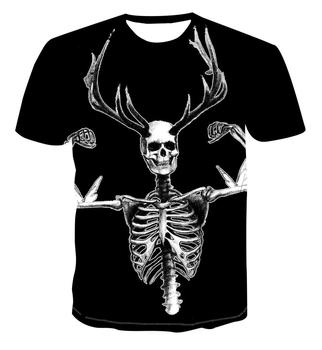 New hot selling 3D personality color skull/creative art design cartoon summer short sleeve fashion all-round