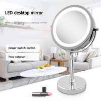 LED makeup mirror double 10 grossissant 7 inch high quality LED luminous noble female gift 360 free rotation metallic material