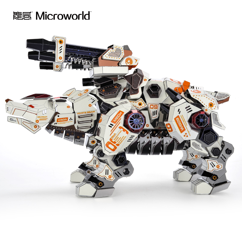 2020 nova microworld 3d metal puzzle urso tesouro rei modelo kits diy corte a laser jigsaw