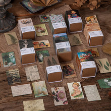 100 Uds colección de libros Vintage 2 series de papel Kraft Mini tarjeta de felicitación postal Material para decoración casera Retro LOMO Card