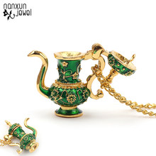 Hand Painted Teapot Pendant Long chain Necklace Enamel Green Teapot necklaces Jewelry Bijoux Femme Bijuteria Gifts For Women(China)
