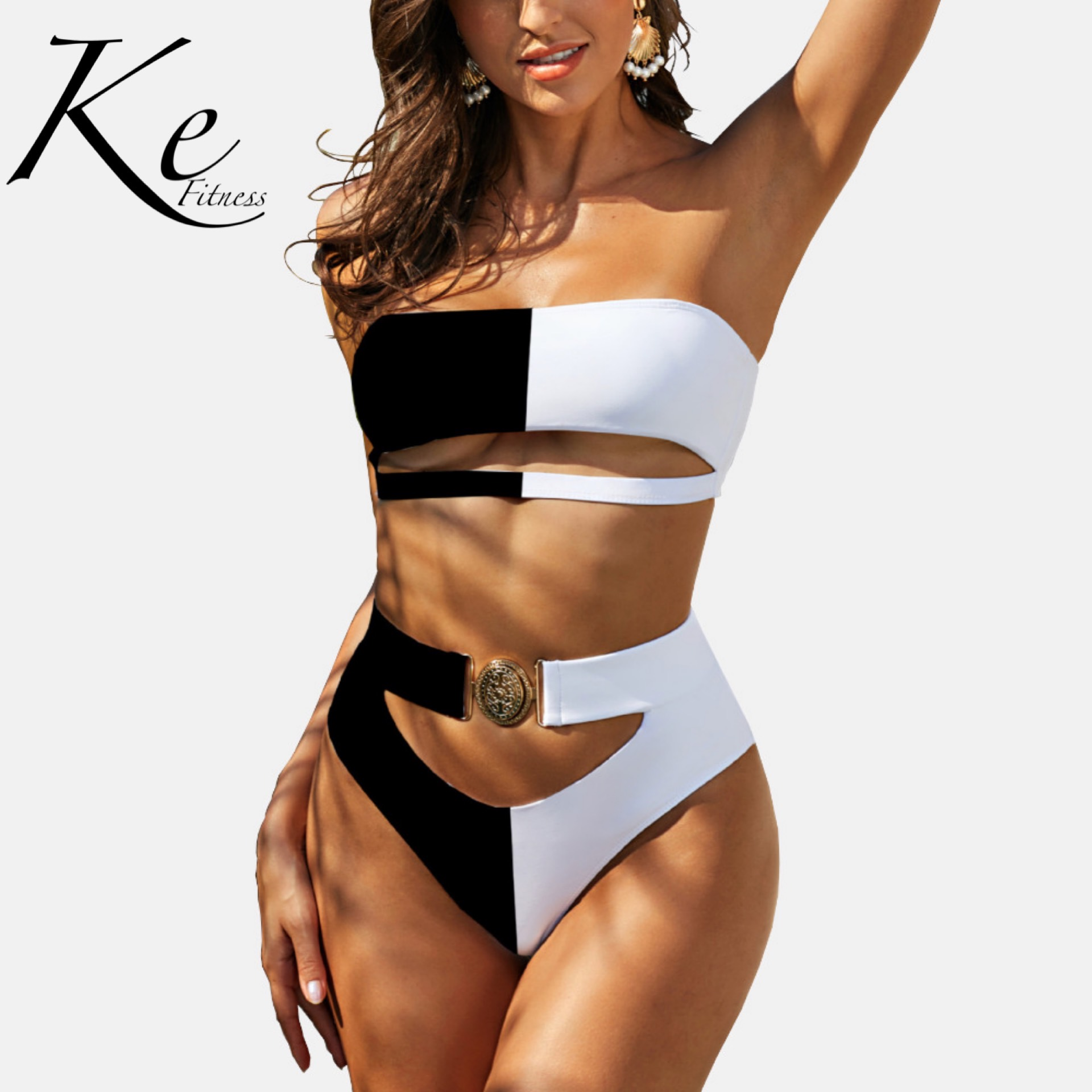 KE Collection 2020 exquisite swimwear metal buckle women's swimsuit tube top bandage bikini 2 pieces high waist black white pink 1