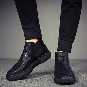 Image 2 - Di modo degli uomini traspirante chelsea scarpe stivali in pelle morbida appartamenti della caviglia della piattaforma botines hombre del progettista di marca bota masculina maschio