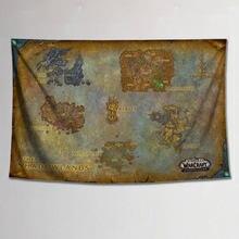 Mundo personalizado de warcrafts shadowland cartaz pendurado pano mapa do mundo pintura decorativa tapeçaria dormitório parede pintura