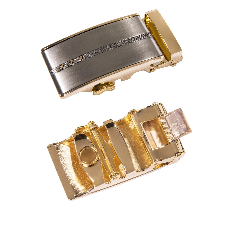 Men's Belt Gold Alloy Automatic Ratchet Buckle Cowhide Leather Belts For Men Luxury Brand Fashion Male Strap Gift Box DiBanGu