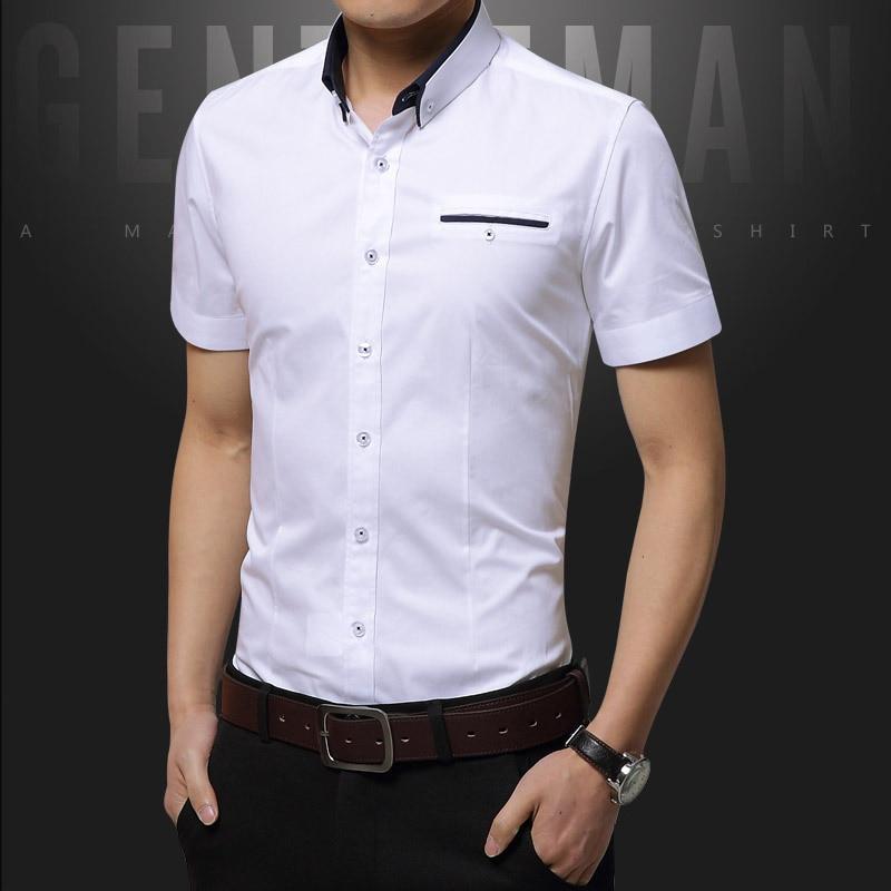 46 Spring Summer Casual Shirt Men High Quality Mens Dress Shirts Solid Slim Fit Short Sleeve Men's Shirt Asian