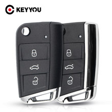 Keyyou 3 botões modificado dobrável flip remoto chave do carro escudo keyless caso para volkswagen vw golf 7 gti mk7 skoda octavia a7 assento