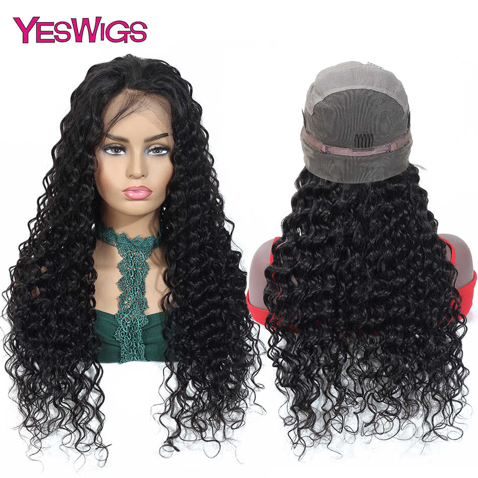 Yeswigs Full Lace Human Hair Wigs For Black Women Remy Malaysian Deep Wave Wig Transparent Lace Wigs 150% Density Natural Color