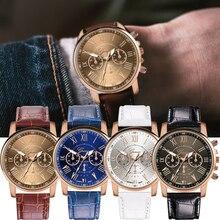 Retro Business Men Watch Leather Strap Band Quartz WristWatc