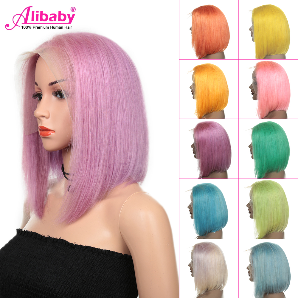 Short Bob Wig Colored Lace Front Human Hair Wigs For Black Women Straight Frontal Hair Wig Pink/Blue/Yellow/Green Ombre Bob Wig