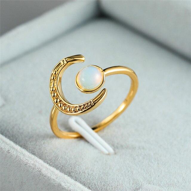 Anillo ajustable abierto de piedra lunar para mujer de Color plata sortija de compromiso Circonia c