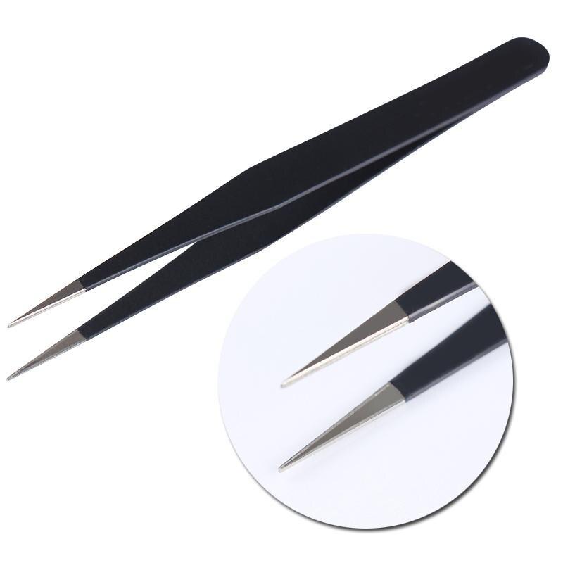 1pc Fashion Black Nail Tweezers For Eyelash Acrylic Gel Picking Tool Rhinestones Gem Decor DIY Hand Clip 1.0MM Nail Art