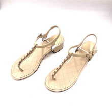 Chain Shoes Casual Sandals Brands-Designers Large-Size Genuine-Leather New-Fashion Hot-Sell