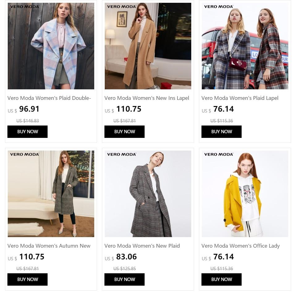 Vero Moda Women's 19 new double-sided 100% wool long plaid woolen overcoat | 318427508 22