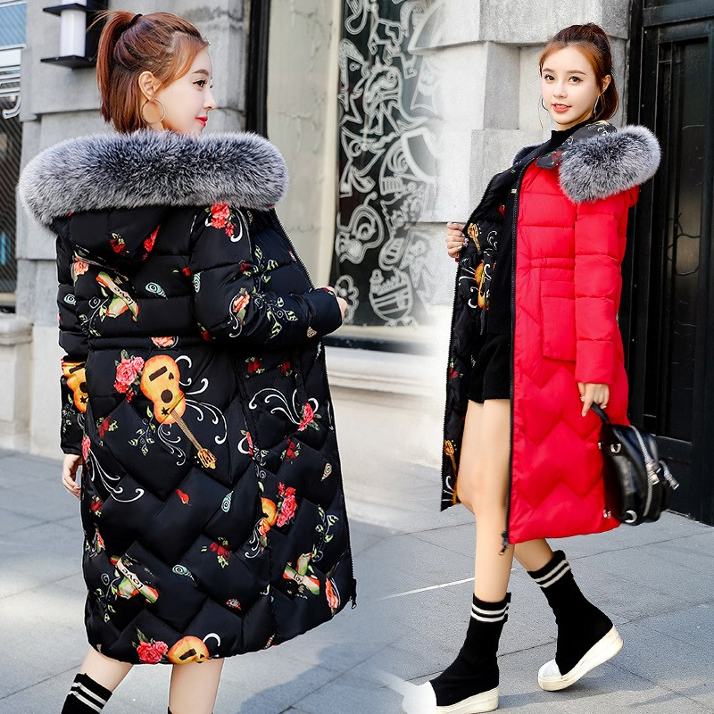Winter Fur Collar Reversible Hooded Coat Long Thick Warm Women Casaco Feminino Wadded   Parkas