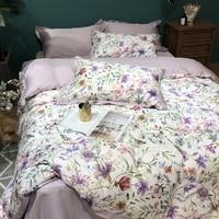 Purple elegant bedding set flower print 100% Egyptian cotton bedlinen sheets Satin duvet cover pastoral princess bedspreads