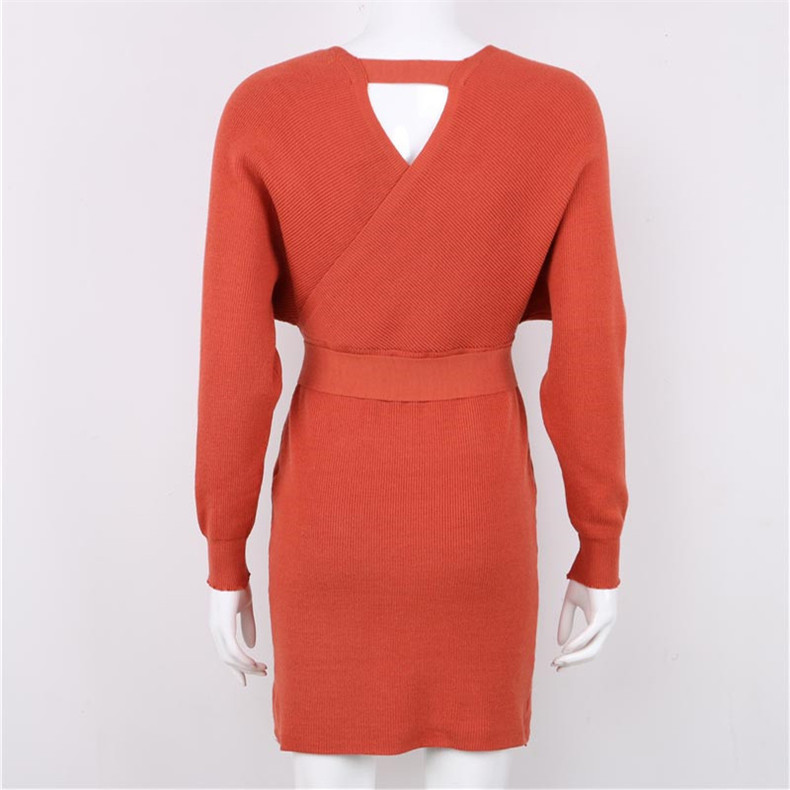 Long Sleeve Sashes Tied Knitted Wrap Sweater Dress 10