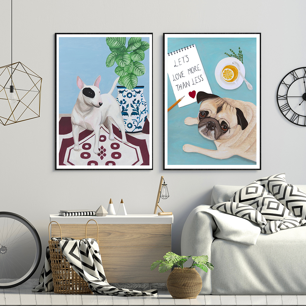 English Bull Terrier With Plant Cartoon Posters And Prints Cute Dogs Canvas Painting Wall Art Pictures For Kid's Bedroom Decor