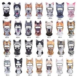 Image 4 - מצחיק 3D אוזני בעלי החיים גרב גולגולת בימס לנשימה חתול כלב פנדה שועל האסקי מלא מגן כובע כובע גברים נשים פנים מסכת משמר