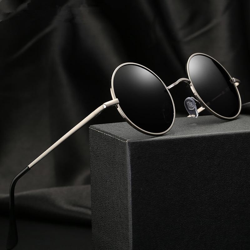 Мужские и женские солнцезащитные очки, классические винтажные круглые поляризационные очки в ретро-стиле с металлической оправой и черным...